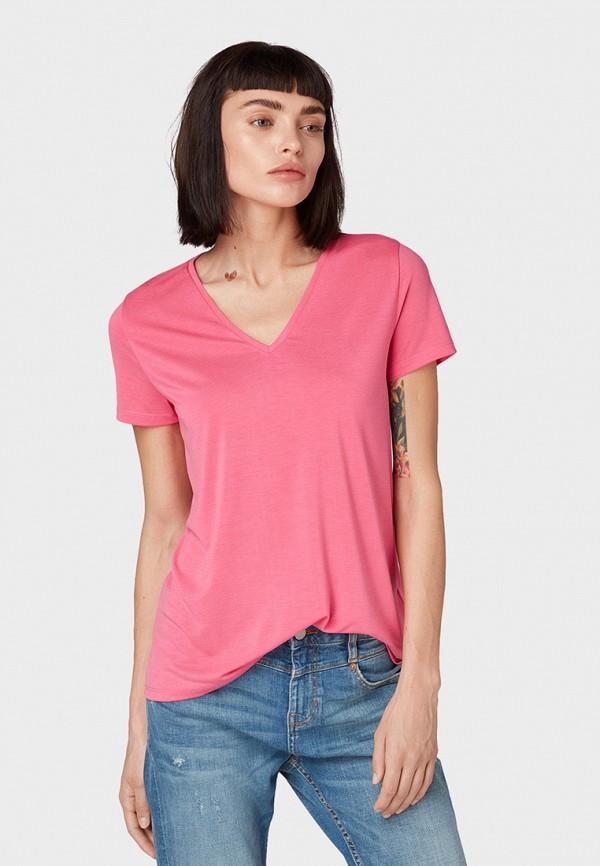 Фото - женскую футболку Tom Tailor Denim розового цвета