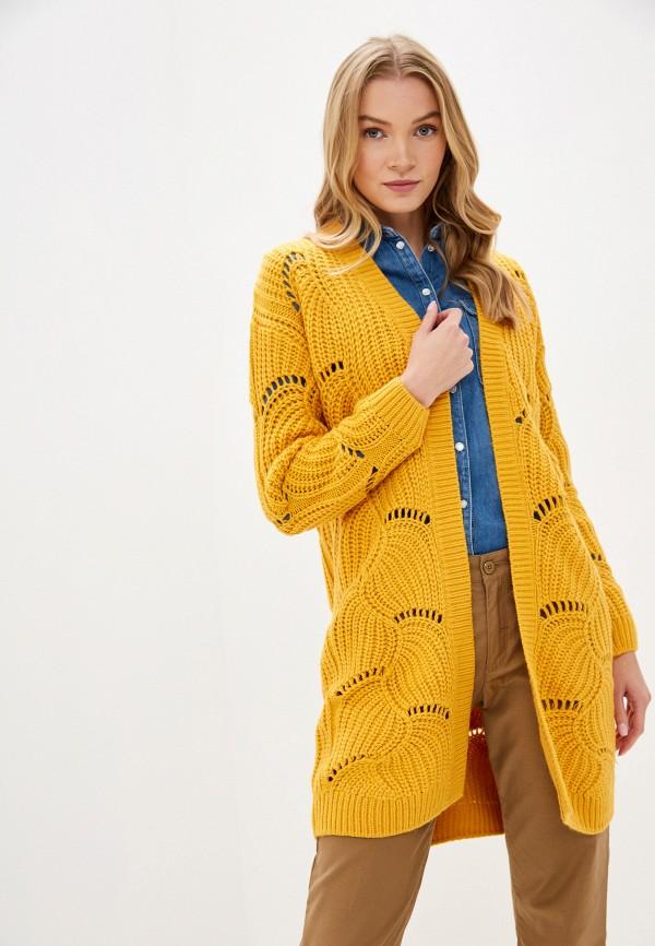 женский кардиган tom tailor, желтый