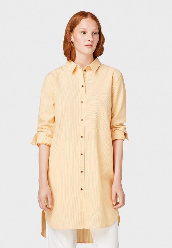 женская рубашка с длинным рукавом tom tailor, желтая