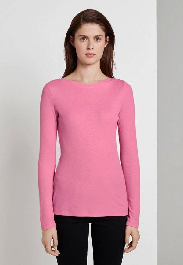женский лонгслив tom tailor, розовый