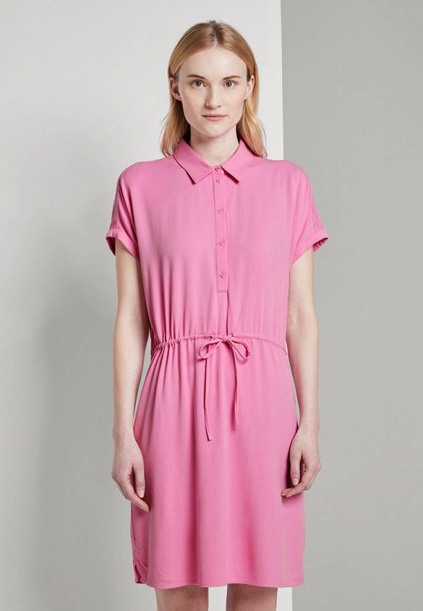 женское повседневные платье tom tailor, розовое