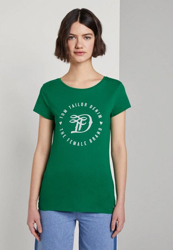 женская футболка tom tailor, зеленая