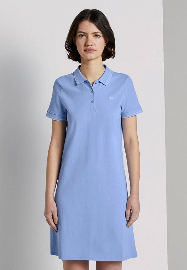 женское платье tom tailor, голубое