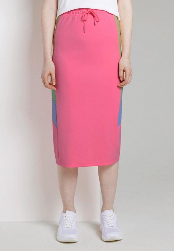 женская прямые юбка tom tailor, розовая