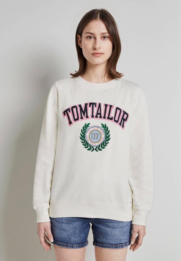 женский свитшот tom tailor, белый