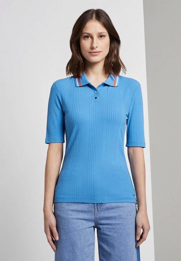 женское поло tom tailor, синее