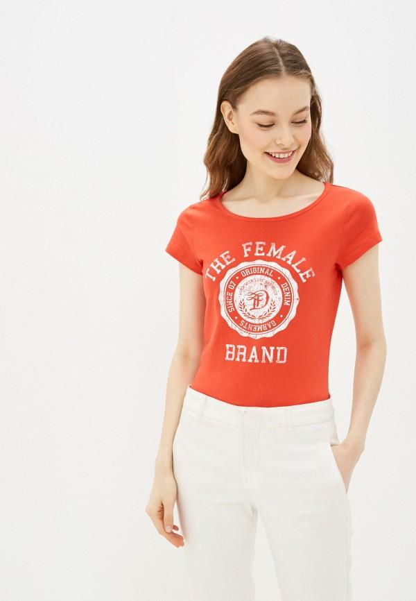 женская футболка tom tailor, красная