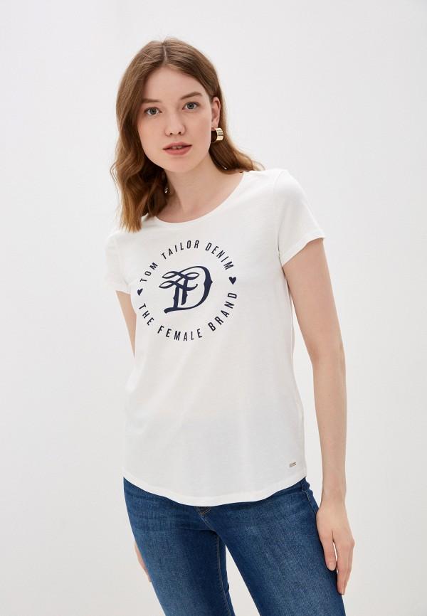 женская футболка tom tailor, разноцветная