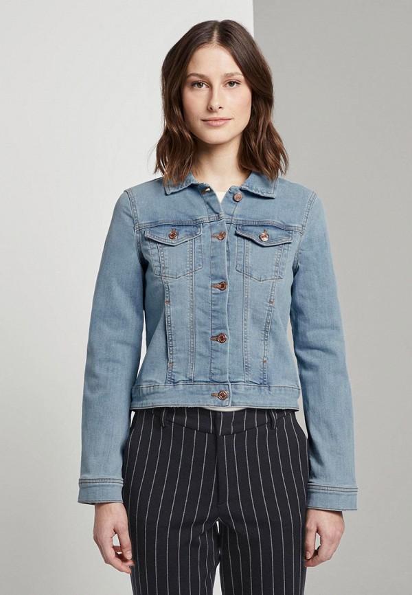 женская джинсовые куртка tom tailor, голубая