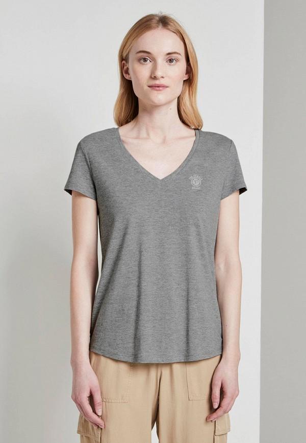 женская футболка tom tailor, серая