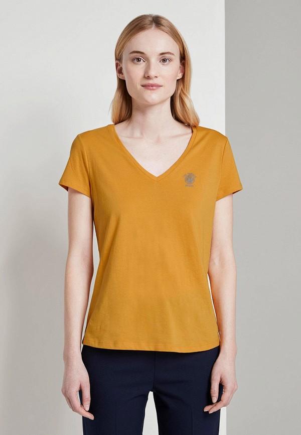 женская футболка tom tailor, оранжевая