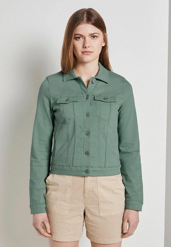 женская джинсовые куртка tom tailor, зеленая
