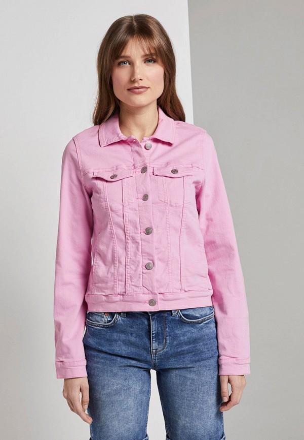 женская джинсовые куртка tom tailor, розовая