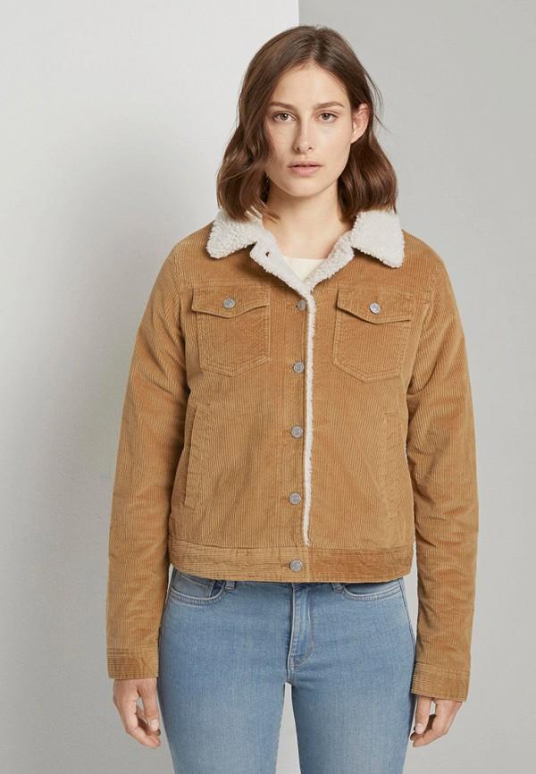 женская куртка tom tailor, коричневая