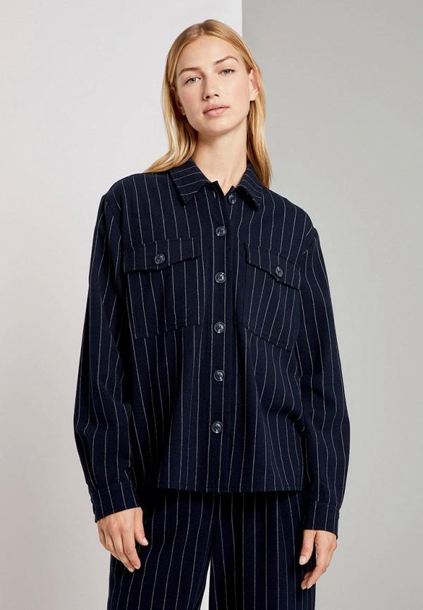 женская рубашка с длинным рукавом tom tailor, синяя