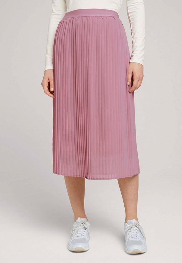 женская плиссированные юбка tom tailor, розовая