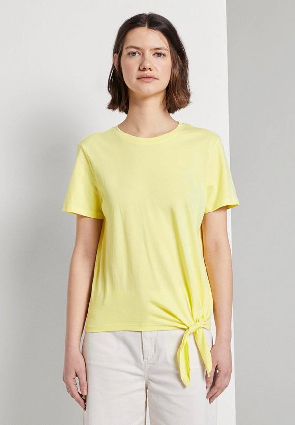 женская футболка tom tailor, желтая