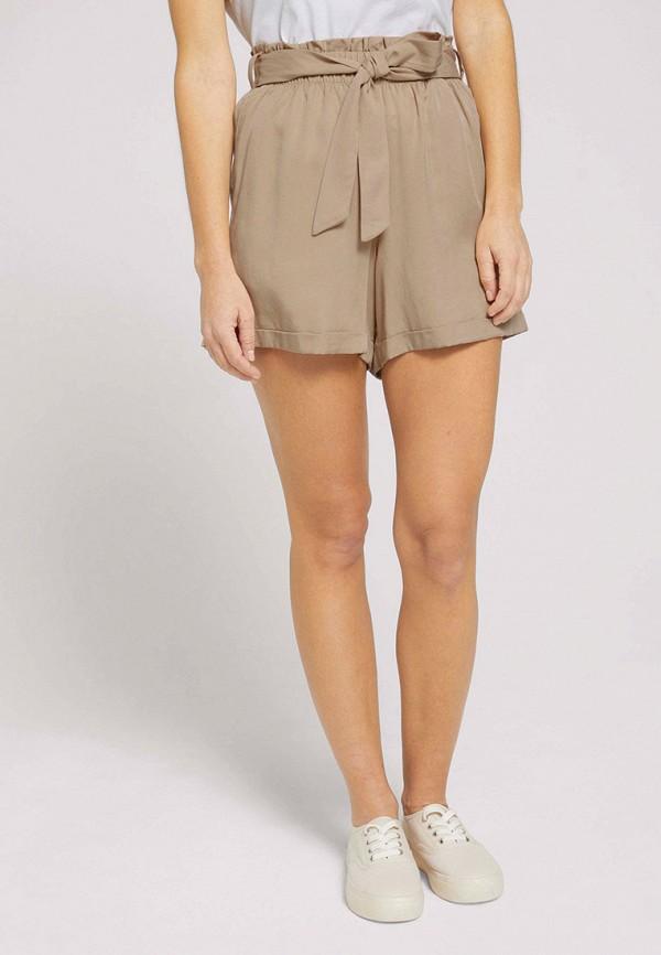 женские повседневные шорты tom tailor, бежевые