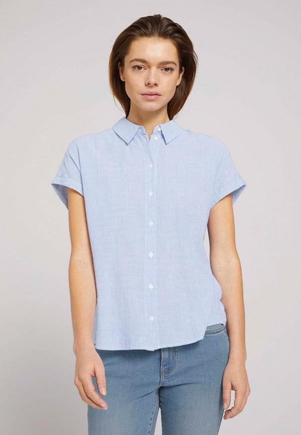 женская рубашка с коротким рукавом tom tailor, голубая