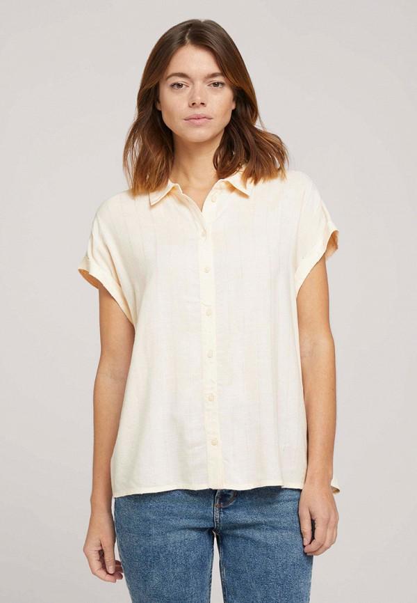 женская рубашка с коротким рукавом tom tailor, желтая