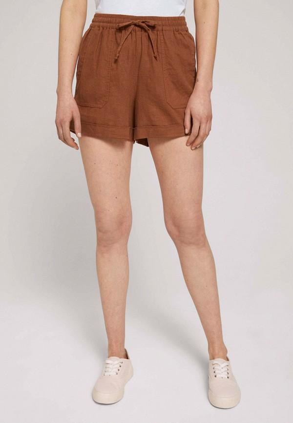 женские повседневные шорты tom tailor, коричневые