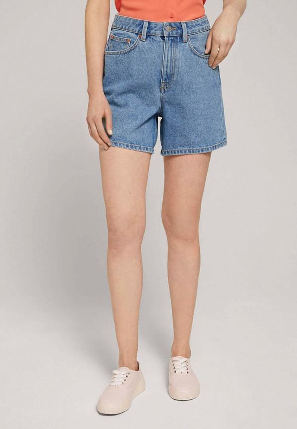 женские джинсовые шорты tom tailor, голубые