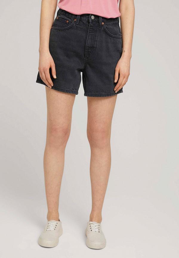 женские джинсовые шорты tom tailor, черные