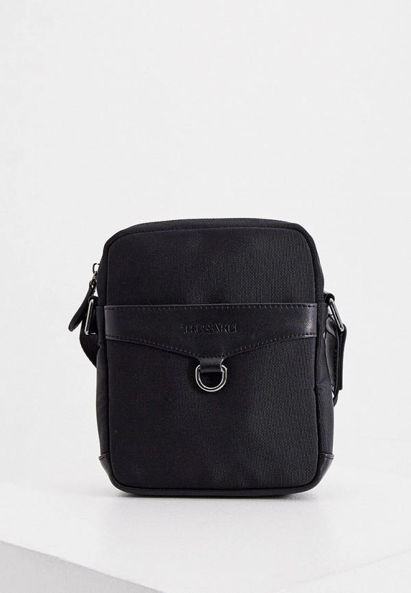 мужская сумка через плечо trussardi, черная
