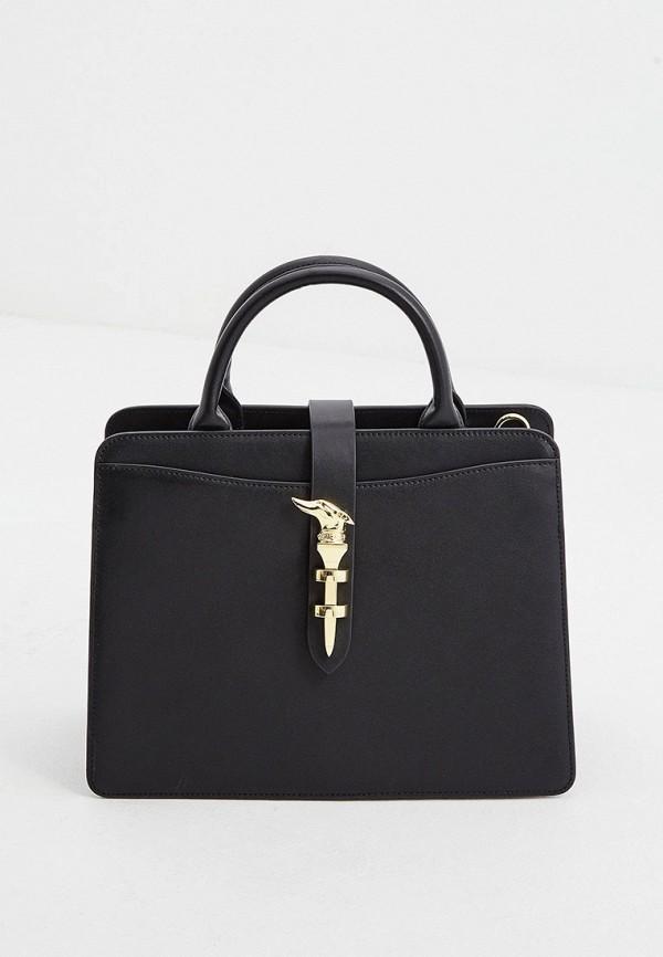 женская сумка с ручками trussardi, черная