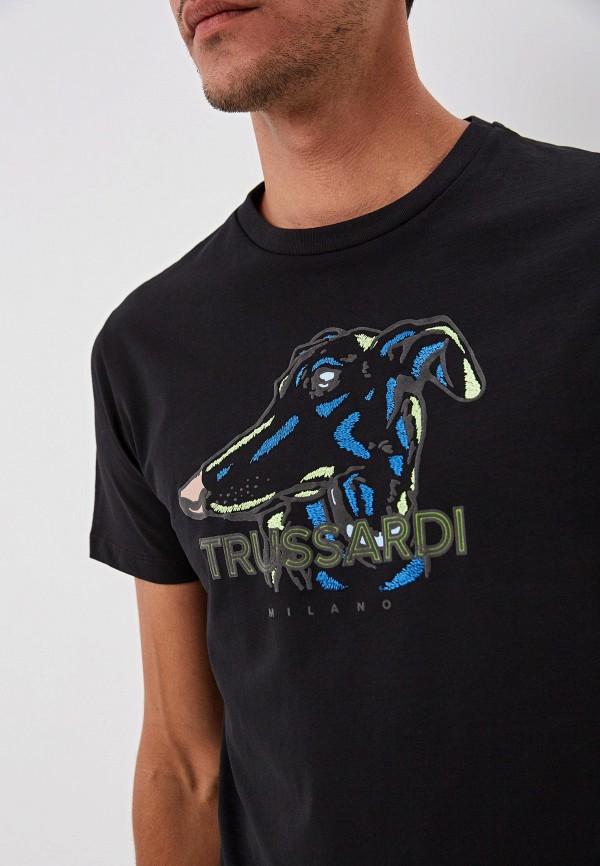 Фото 4 - мужскую футболку Trussardi черного цвета