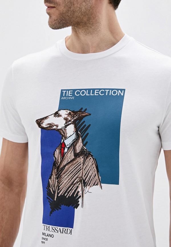 Фото 4 - мужскую футболку Trussardi белого цвета
