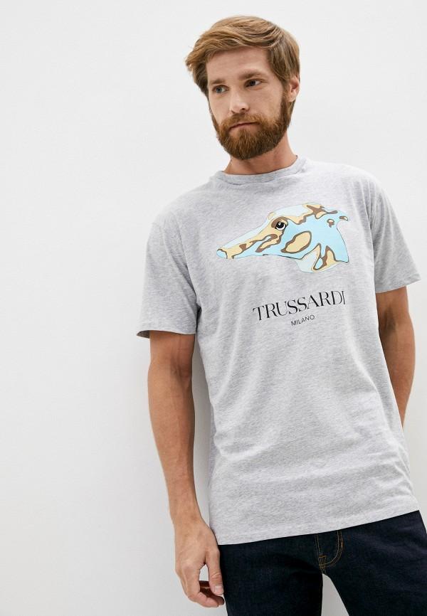мужская футболка trussardi, серая