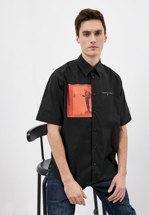 мужская рубашка с коротким рукавом trussardi, черная