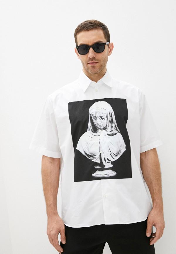 мужская рубашка с коротким рукавом trussardi, белая