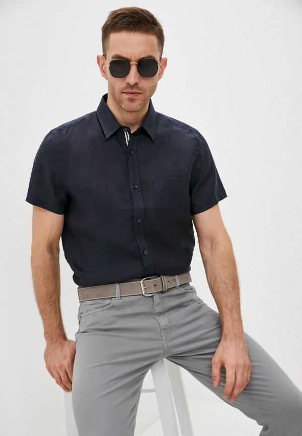 мужская рубашка с коротким рукавом trussardi, синяя