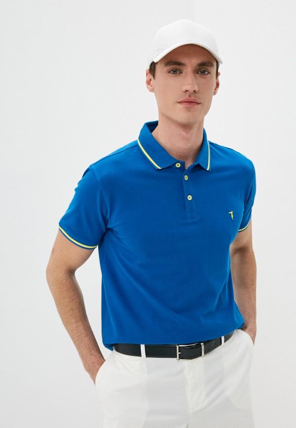 мужское поло с коротким рукавом trussardi, синее