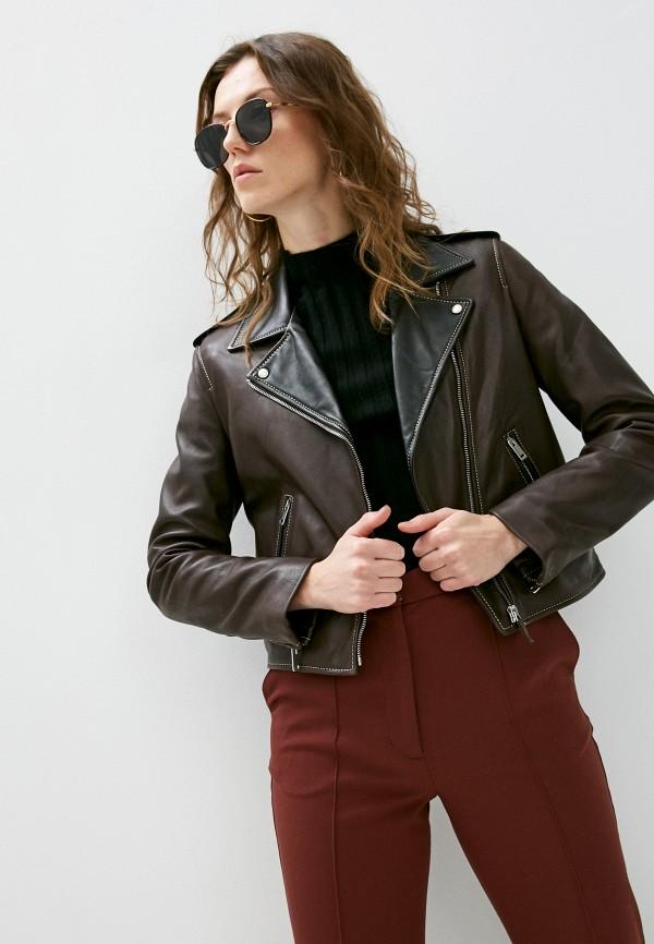 женская куртка trussardi, коричневая