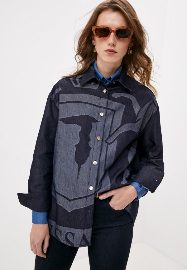 женская джинсовые рубашка trussardi, синяя
