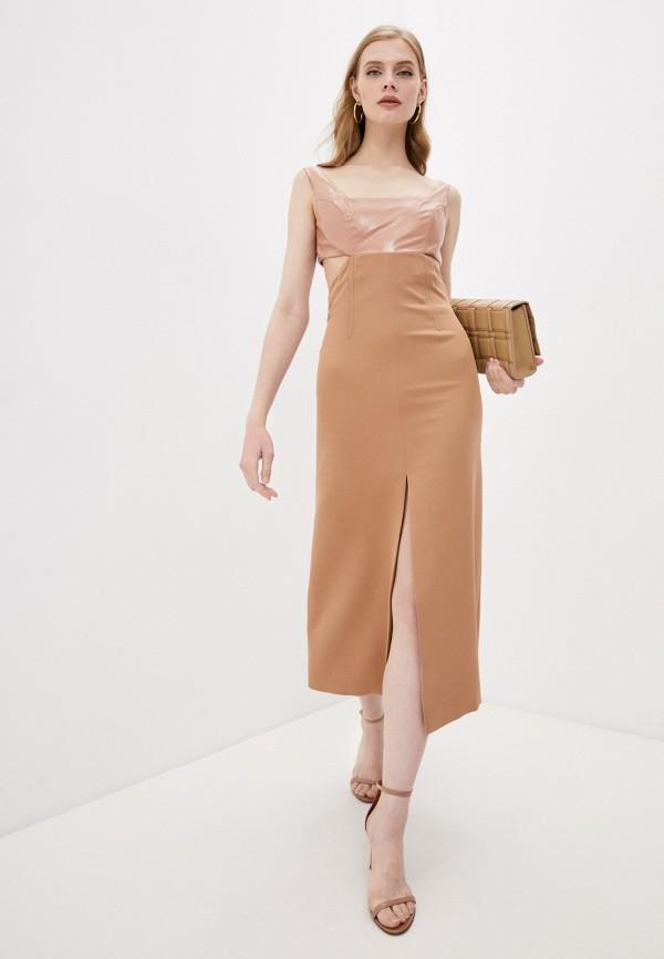женское вечерние платье trussardi, бежевое