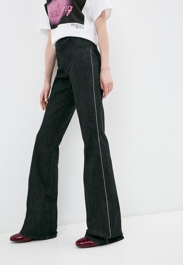 женские джинсы клеш trussardi, черные