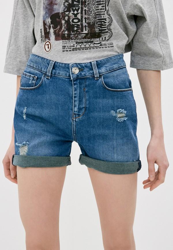 женские джинсовые шорты trussardi, голубые