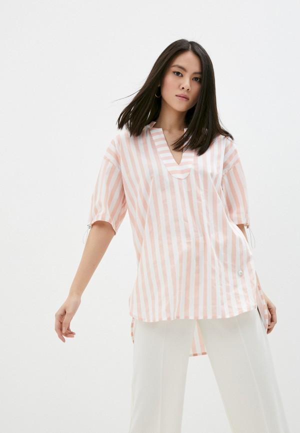 женская рубашка с коротким рукавом trussardi, розовая