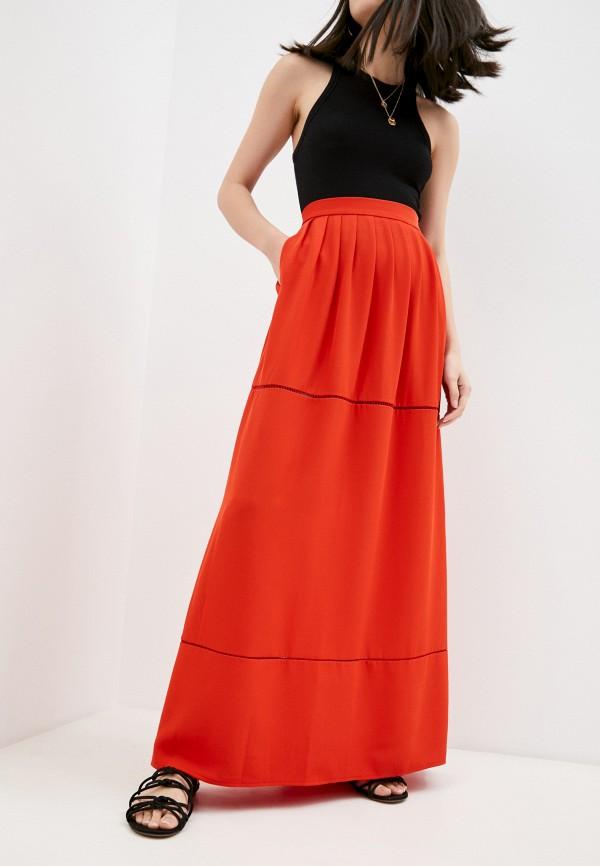 женская прямые юбка trussardi, красная