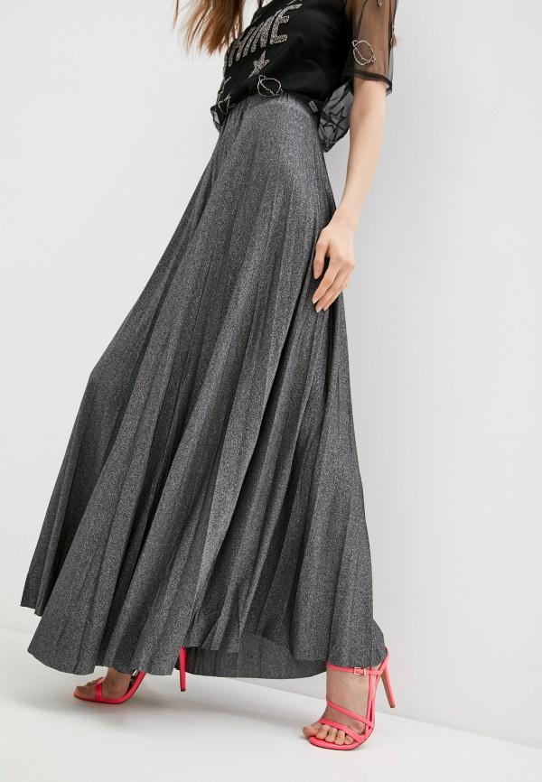 женская плиссированные юбка trussardi, серебряная