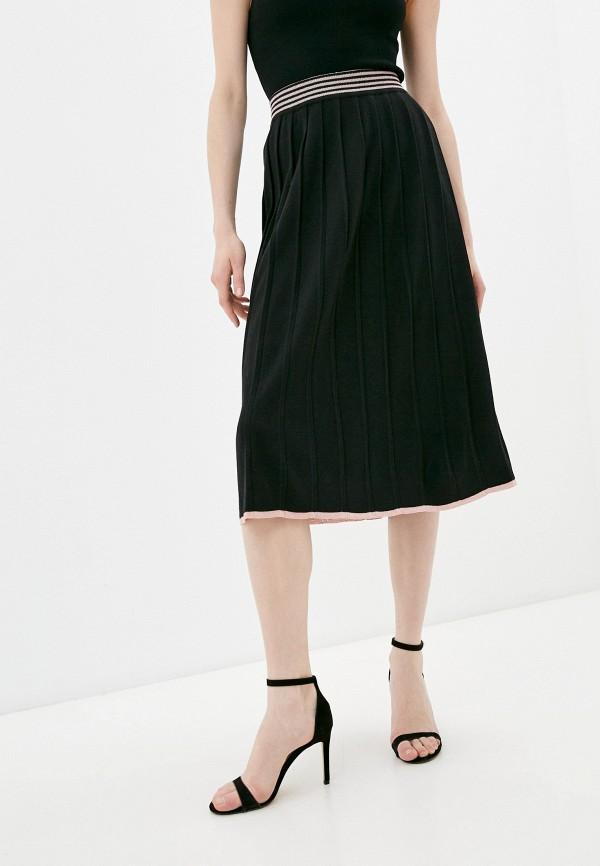 женская юбка-трапеции trussardi, черная