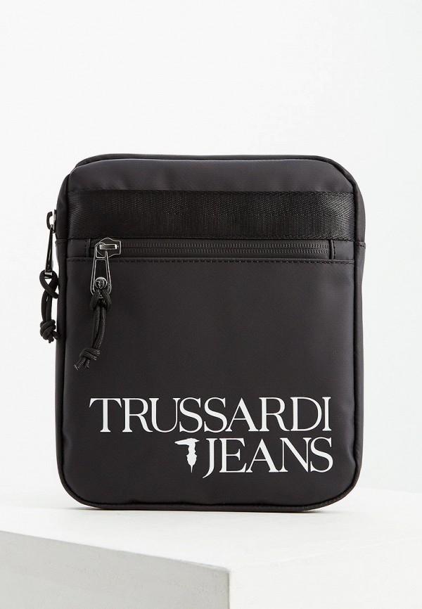 Купить Мужскую сумку Trussardi Jeans черного цвета