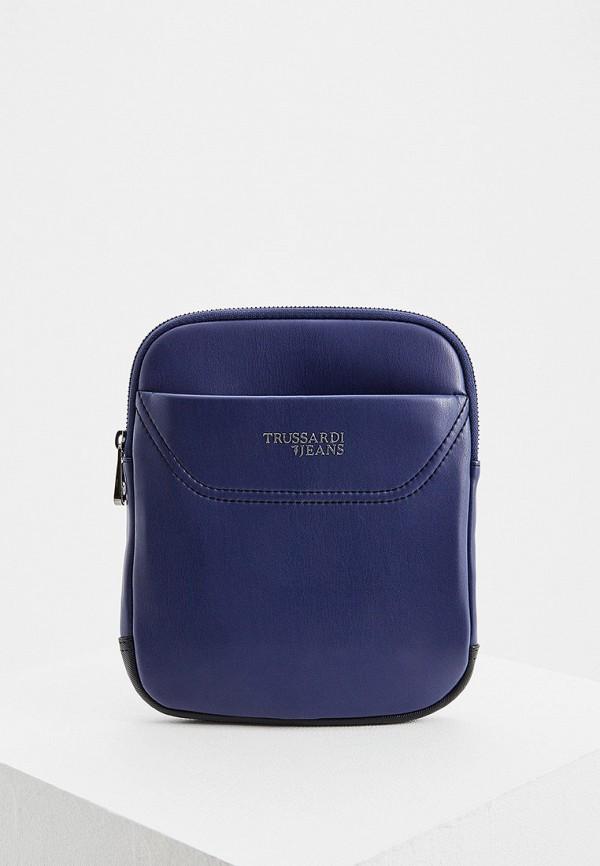 Купить Мужскую сумку Trussardi Jeans синего цвета