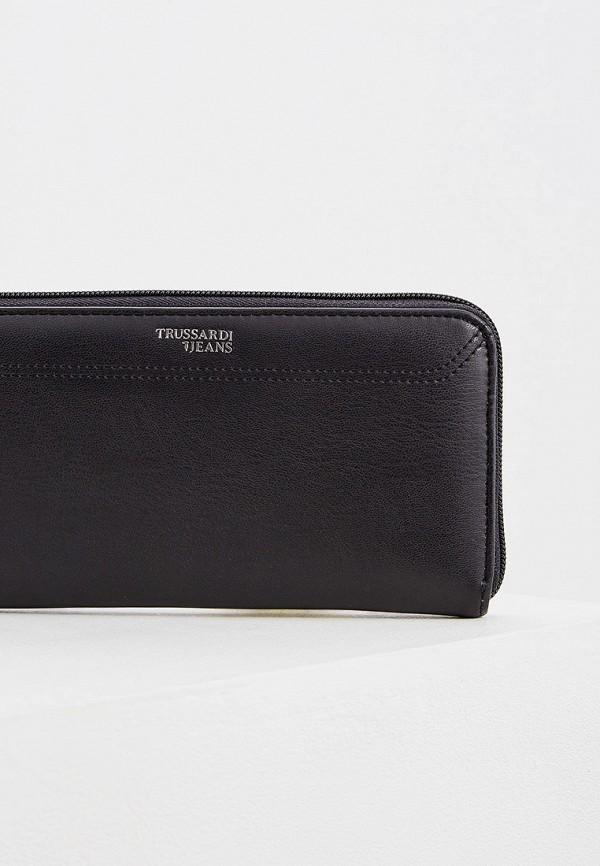 Фото 3 - мужской кошелек или портмоне Trussardi Jeans черного цвета