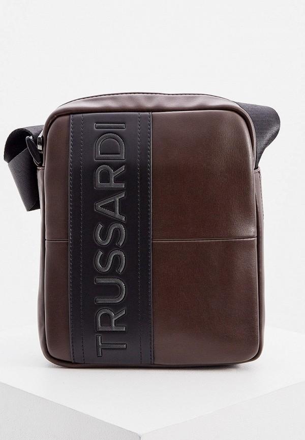 мужская сумка trussardi, коричневая