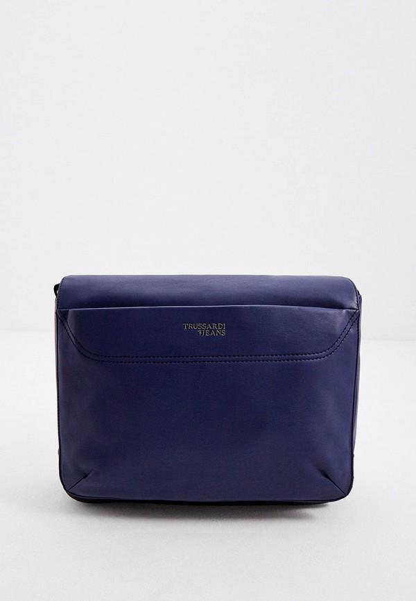 мужская сумка trussardi, синяя